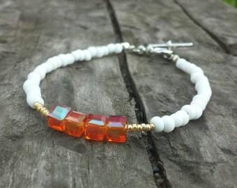 Beaded bracelet, Glam beaded bracelet, Orange and White beaded bracelet, Swarovski bead bracelet