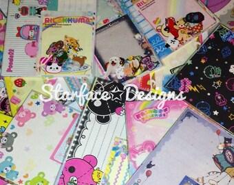 25pc Loose Kawaii Stationery Grab Bag Grabbie Memo Sheets Sticker Flakes Variety Pack Sanrio San-X Crux Q-Lia Lot