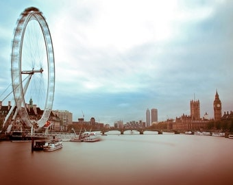 River Thames Print - London Eye, London Wall Art, Westminster Print - London Photography Print