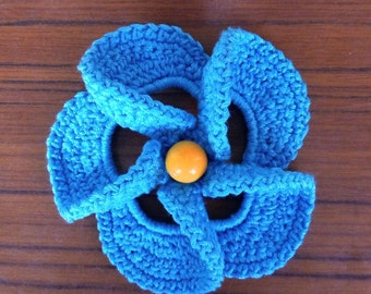 Сrochet brooch -Coton Brooch - Blue brooch - Flower Brooch - Knitted Brooch - Hand-Knitted