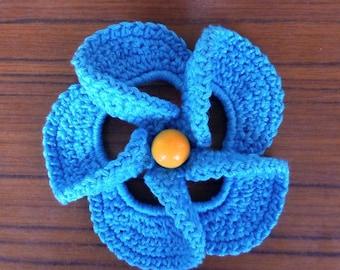 READY TO SHIP Сrochet brooch -Coton Brooch - Blue brooch - Flower Brooch - Knitted Brooch - Hand-Knitted
