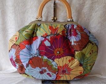 Betty frame bag. Kaffe Fassett Lotus Leaf design fabric. Handbag vintage inspired chain fabric handmade in England