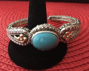 Bixby Turquoise and Sterling Silver bracelet with 18Kt Gold Floral Accents