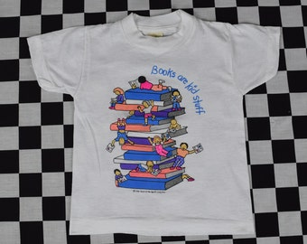 80s Books are Kids Stuff Tee Shirt / Vintage Childrens T Shirt / Childrens Size 2-4 / Cotton Polyester Blend / Education / Book of the Month