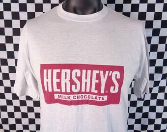 Vintage Hersheys T-shirt / 80s Hersheys Chocolate te shirt / Hershey Candy Bar / Thin / Fits like a Large