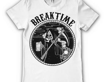 Breaktime Grim Reaper The Destroyer Angel Death Mens T-shirt White Death Funny Awesome Cool