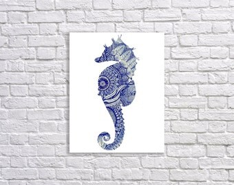 Nautical Digital Print Pattern Seahorse Wall Decor 11x14