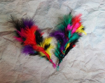 Set of 20 Craft Feathers, 5'' Feathers, Multicoloured Feathers, Feather Embellishments