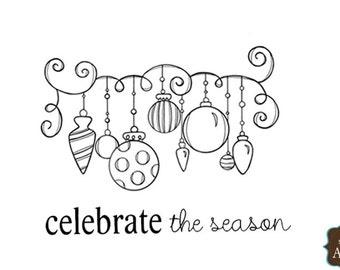 Unity Stamps Ornamental Season, Christmas Ornament Stamp