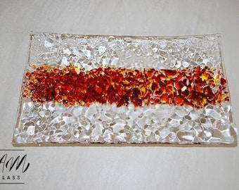 Fused glass sushi dish, sushi, serving platter