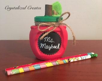 Teachers Gift, Apple Jar, Chalkboard label, Apple