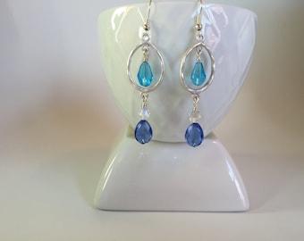 Earrings, Light blue & dark blue dangle