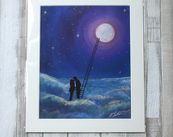 I Love you to the Moon and back Giclee Print on silk Paper
