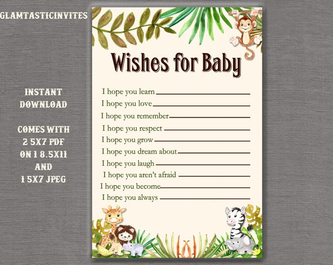 Wishes for Baby, Wishes for Baby Game, Baby Shower Games, Jungle Baby Shower, Safari Baby Shower Games, Safari Baby Shower Invitation,Jungle