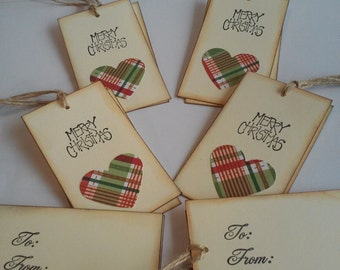 Christmas tags, Christmas gift tags, Heart tags, Holiday tags, Favor tags, To From tags, Set of 12