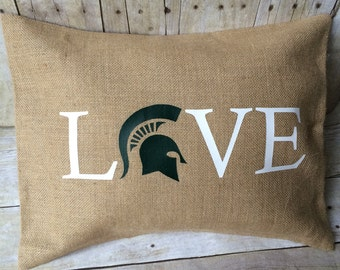 Michigan State Spartans Pillow cover- Michigan State Burlap Pillow- Michigan State University- MSU- Michigan State Pillow- MSU Love