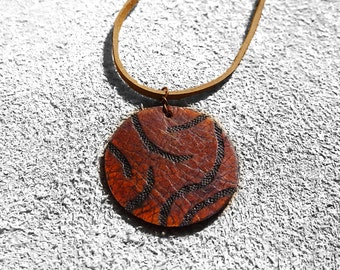 Leather Pendant Necklace distressed veg tanned leather / medallion / lightweight earrings / boho / 3rd anniversary gift / joanna gaines