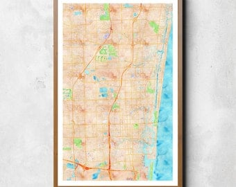 Map of Fort Lauderdale, Fort Lauderdale, Fort Lauderdale art, Fort Lauderdale map, Fort Lauderdale print, Fort Lauderdale decor, map art
