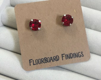 Swarovski Crystal Studs in Red