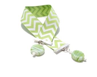 Green Beaded Ribbon Bookmark - Green Chevron - Green Bookmark - Gift for Reader - Love Reading - Hostess Gift