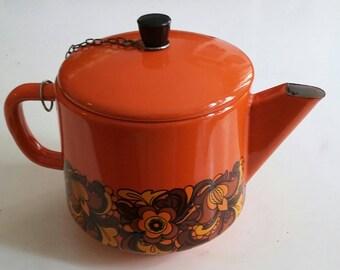 Orange Enamel Teapot with Flowers '70