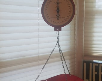 Cherry Red American Family Vintage Hanging Scale