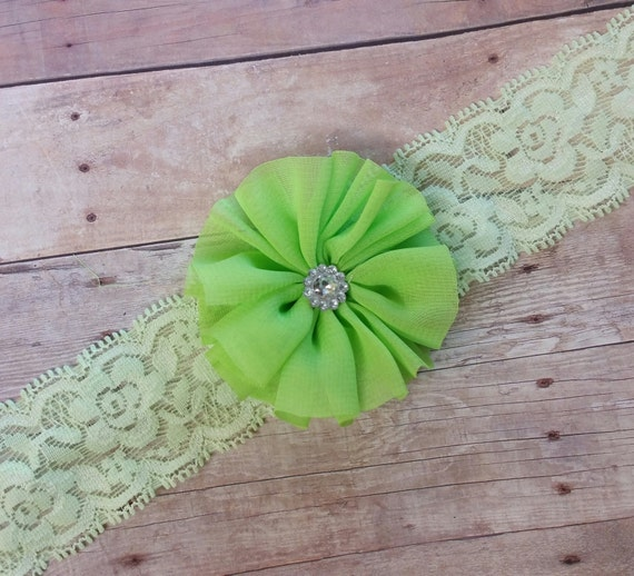 Chiffon Headband, Green Headband, Baby Hair Bands, Lace Headbands For Babies, Newborn Headband Photo Prop, Baby Girl Headbands, Cute Bows