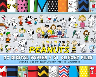 20 Digital Papers, 61 Clip Art - Peanuts - Charlie Brown - High Resoultuion Printable, Scrapbooking, Invitations, Decorations and much more!