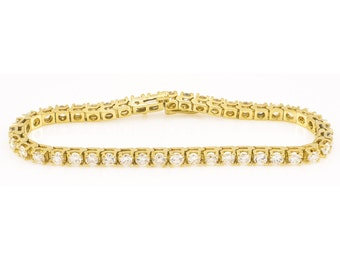 14K Diamond Tennis Bracelet Yellow Gold 6.25ct