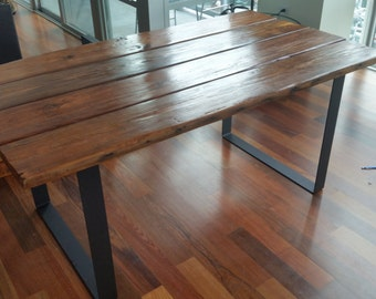 Rustic Reclaimed Wood and Steel Table