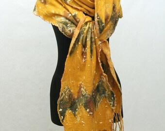 Hand Felted SCARF, Nuno Felted Scarf Handmade Felt Scarf Wool Silk Scarf, Gift scarf