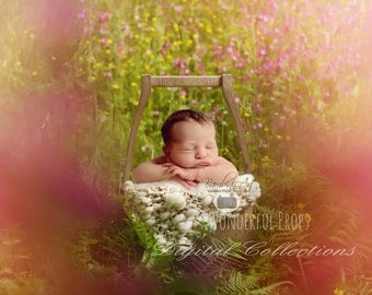 Digital Newborn Photography Prop Backdrop - Magic Forest - Wooden Bucket