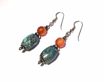Turquoise earrings, genuine Turquoise earrings, Carnelian Turquoise earrings, Sterling Silver