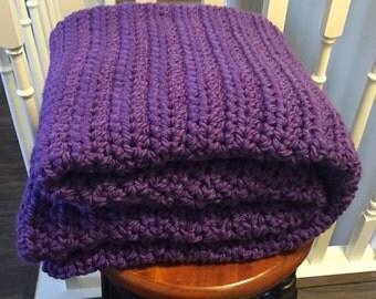 Chunky Purple Crochet Blanket / Purple Blanket / Crochet Blanket / Chunky Blanket / Purple Throw / Throw / Purple Crochet Blanket