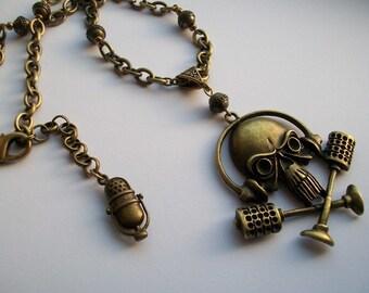 Monster of Rock - Bronze coloured heavy metal skull necklace