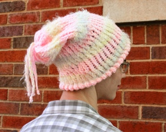Large Pastel Pink and White Beanie