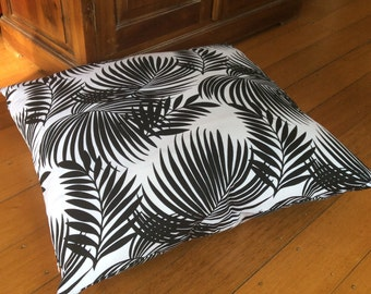 Floor Cushions 69cm x 69cm,Quality Hand Made,Black and White Butterfly Fern Design