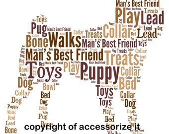 A4 or 5x7 Size Personalised Pug Dog Word Art Print - Pet Memorial * Digital File Also Available*