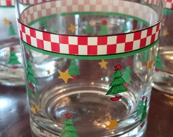 Set of 4 Anchor Hocking Christmas Glasses/ Checkerboard pattern/ Country Christmas/ Lowball Glasses/ Holiday Glasses