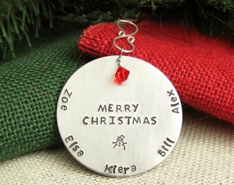Family Christmas Ornament - Hand Stamped - Snowman - Round