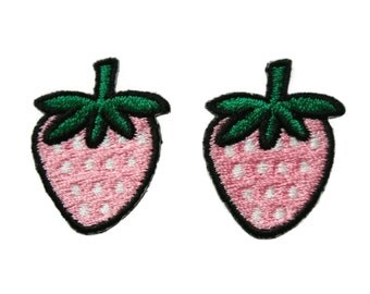 Set of 2 pcs Pink Strawberry Fruit Appliques Embroidered Patch Iron On