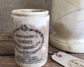 Stoneware DUNDEE MARMALADE JAR by James Keiller & Son Ltd. - Rare Stoneware Kitchen Utensil Vessel / Vintage Old Scottish Marmalade Pot