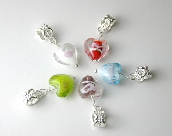 5 Heart Glass Silver Plated Bail Bead Charms Pandora European Bracelets
