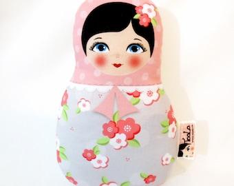 Babushka matryoshka softie plush doll, Small, stuffed matryoshka