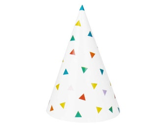 Paper party hats.  Rainbow party hats.  First birthday hat.  Birthday hats.  Pink party hat.  Colorful party hat. Blue, green, yellow hats.