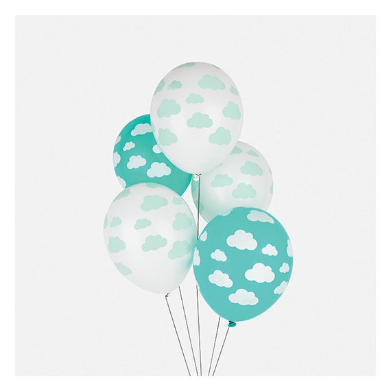 Cloud print latex balloons set of 5 cloud balloon sky for Balloon cloud decoration
