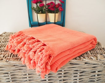 Stone Washed  Turkish Towel in Washed Pink-Red Color,Turkish Beach Towel in Washed Pink-Red,Turkish Beach Peshtemal,Stone Washed Turkish