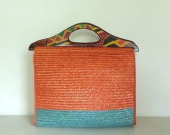 SALE 20% Off Vintage 90s Large Straw Bag, Orange Blue Straw Purse, Summer Handbag, Large Straw Tote, Colorful Straw Purse, Tribal Print, Car