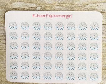 Happy Rain Cloud Small Sampler Planner Stickers Set