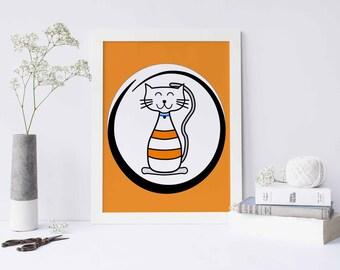 Prints, Digital Prints, kids wall art, cat printable,  baby boy nursery art,  art for kids room,  children wall art, kids room wall,wall art